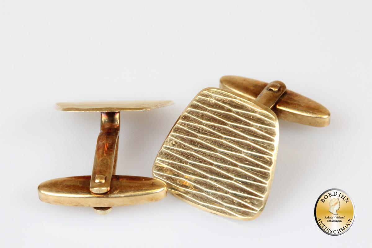 Manschettenknöpfe; 14 Karat Gold, geriffelt
