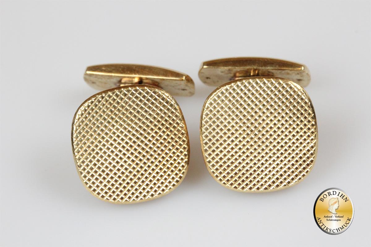 Manschettenknöpfe; 14 Karat Gold