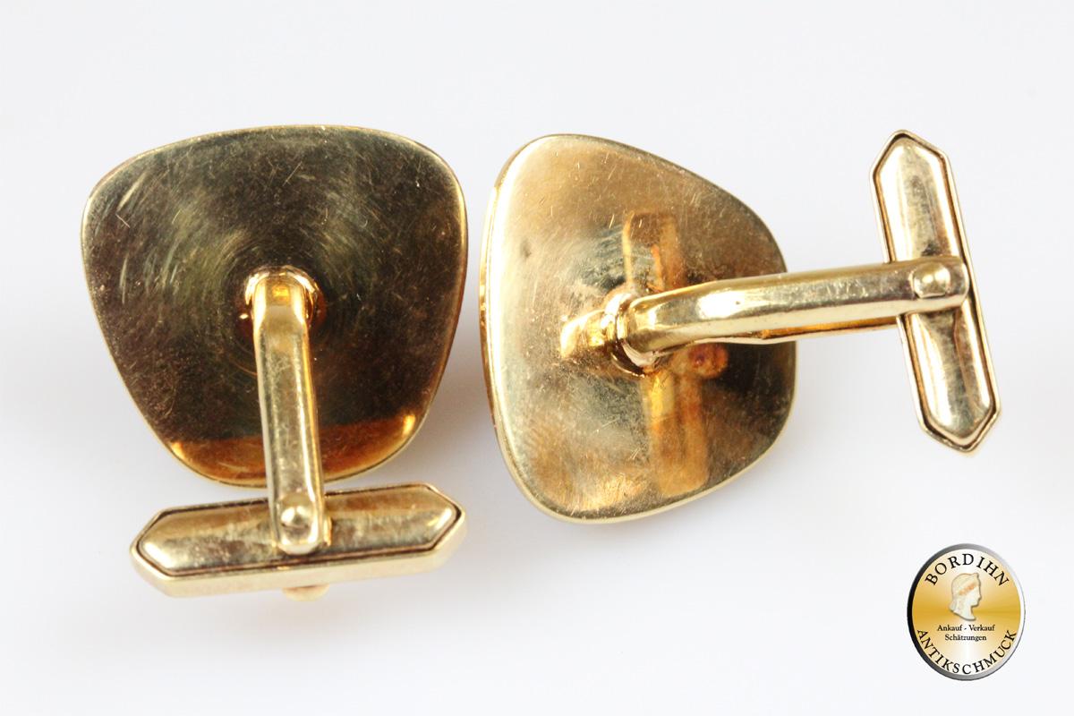 Manschettenknöpfe; feuervergoldet, Bernstein