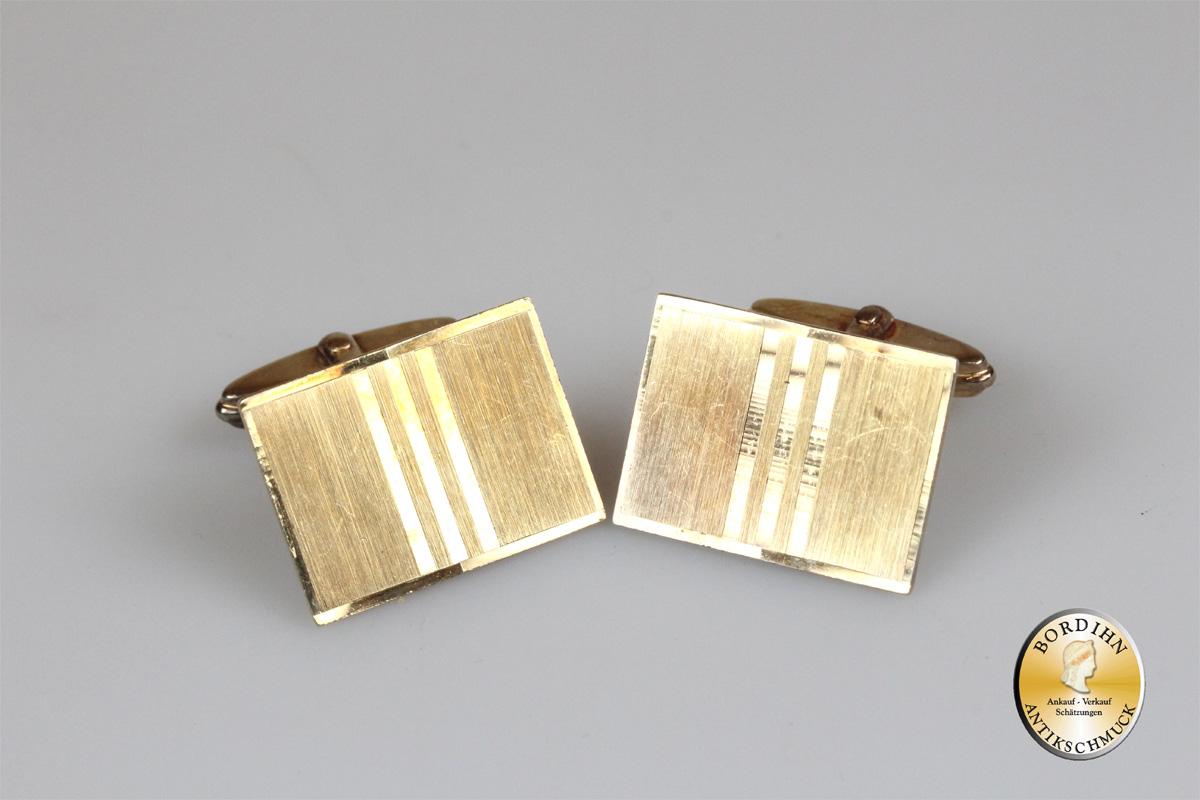 Manschettenknöpfe; 14 Karat Gold, rechteckig