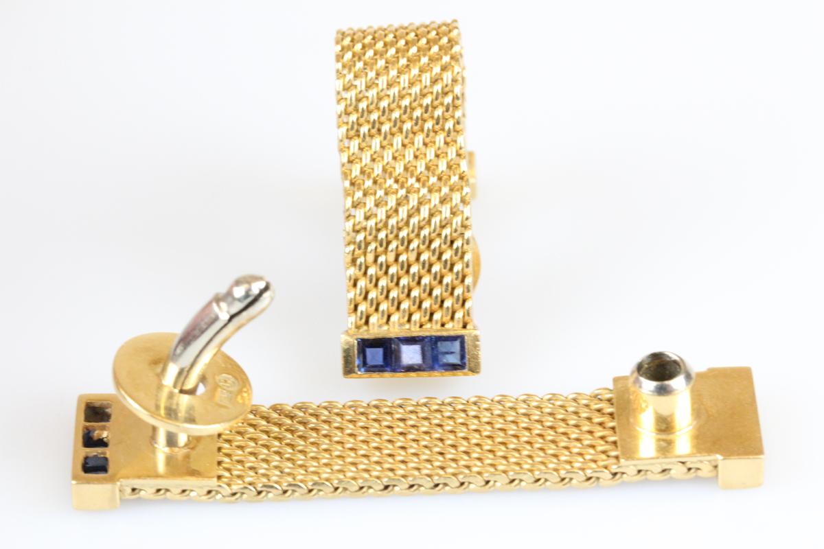Manschettenknöpfe 18 Karat Gold Saphir Goldschmuck Herren Edelsteine