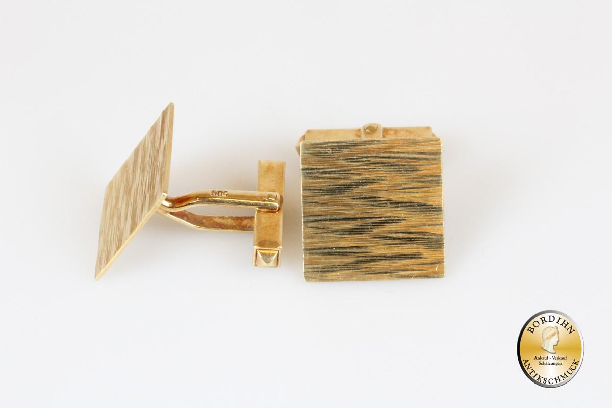Manschettenknöpfe; 14 Karart Gold, viereckig