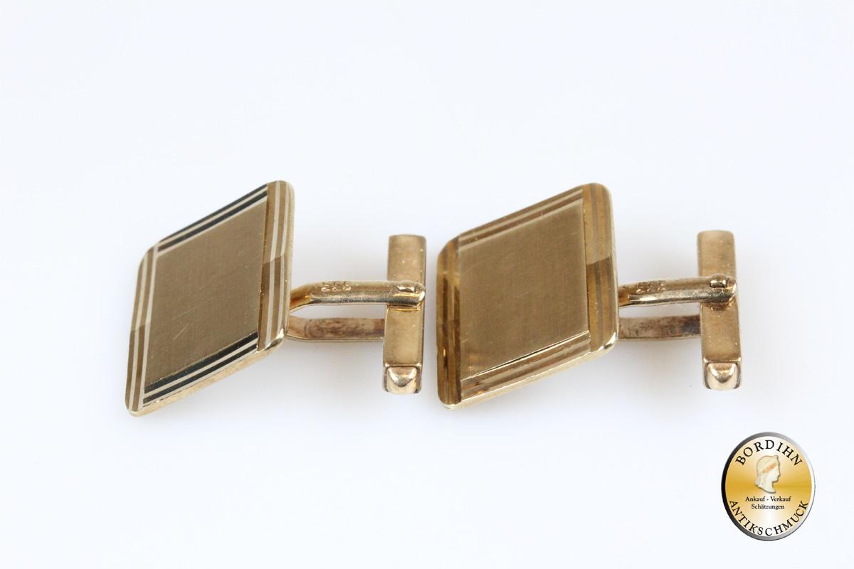 Manschettenknöpfe; 8 Karat Gold, eckig, Rand geschliffen