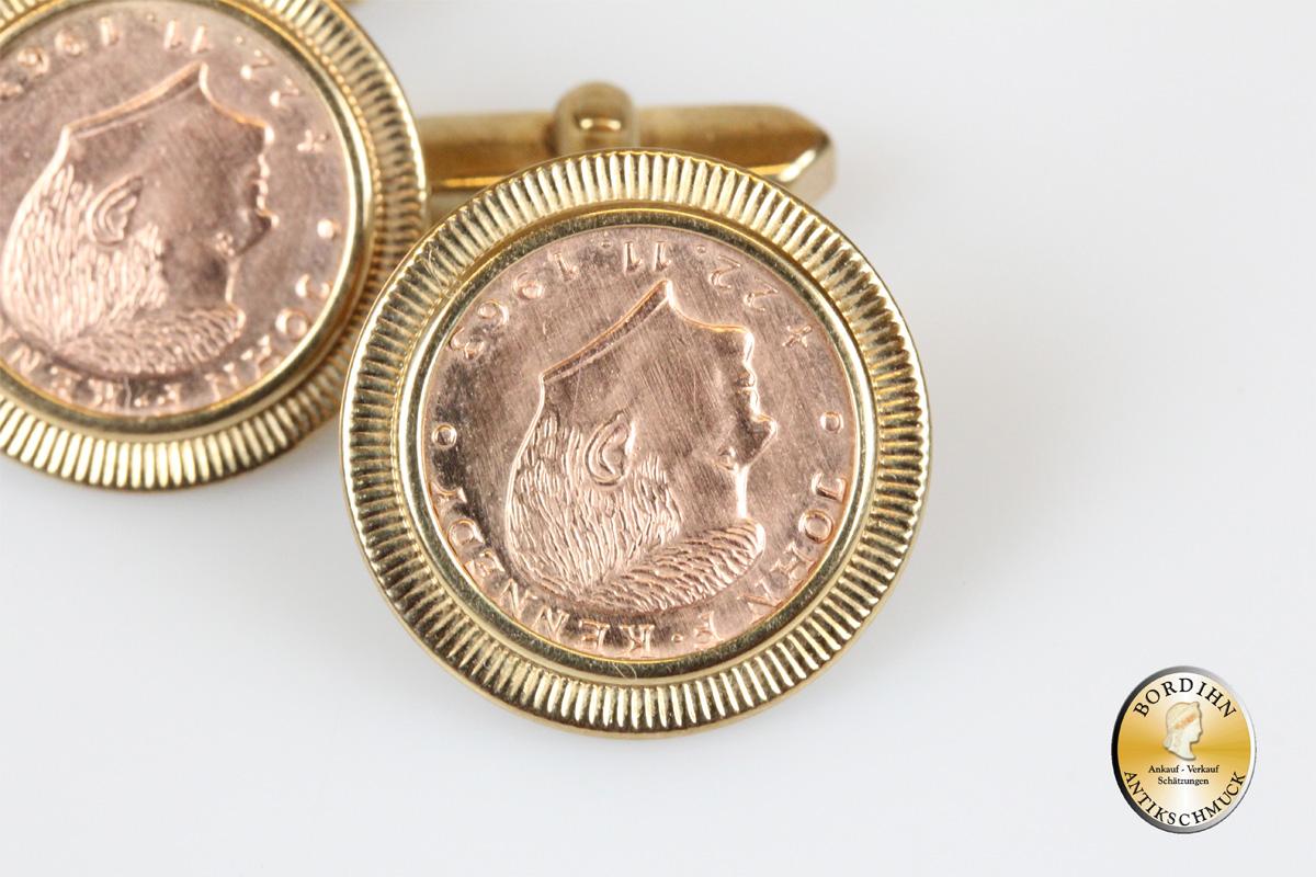 Manschettenknöpfe; 8 Karat Gold, Medaille, Kennedy