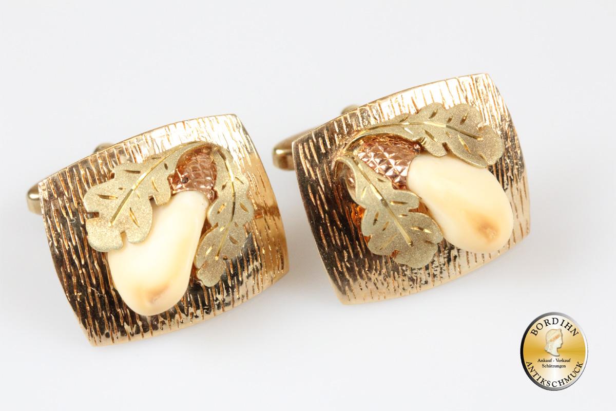 Manschettenknöpfe; 14 Karat Gold, mit Grandel