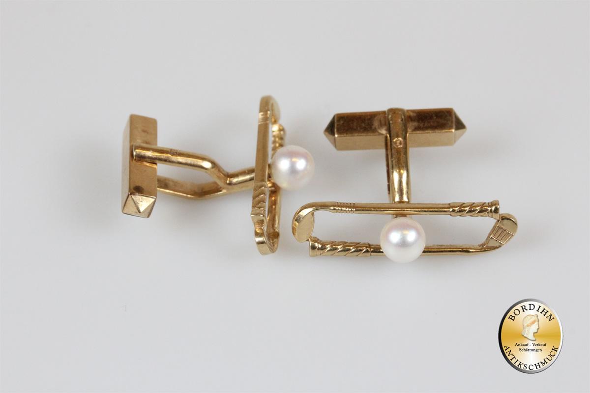 Manschettenknöpfe; 14 Karat Gold, mit einer Perle