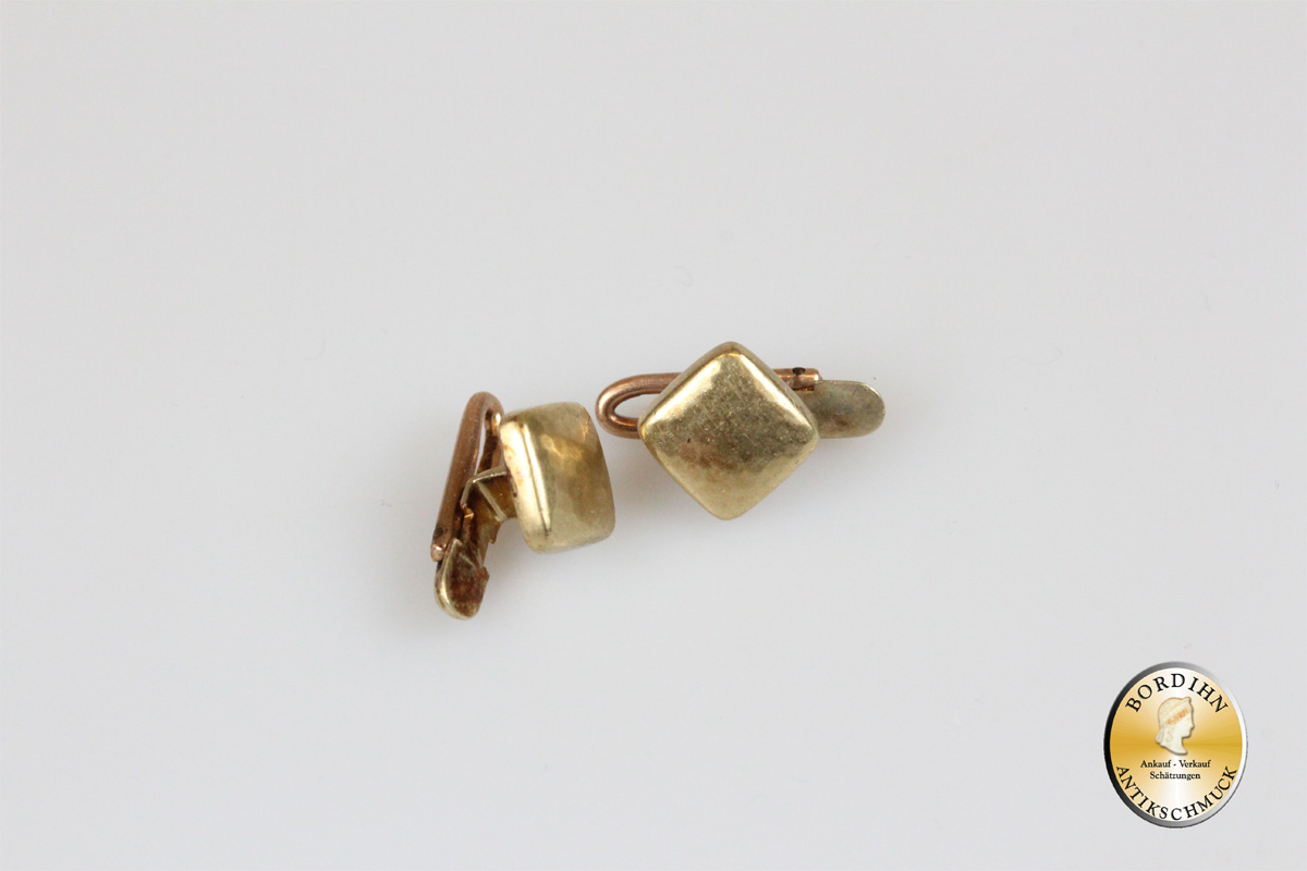 Frackknöpfe; 14 Karat Gold, viereckig, antik