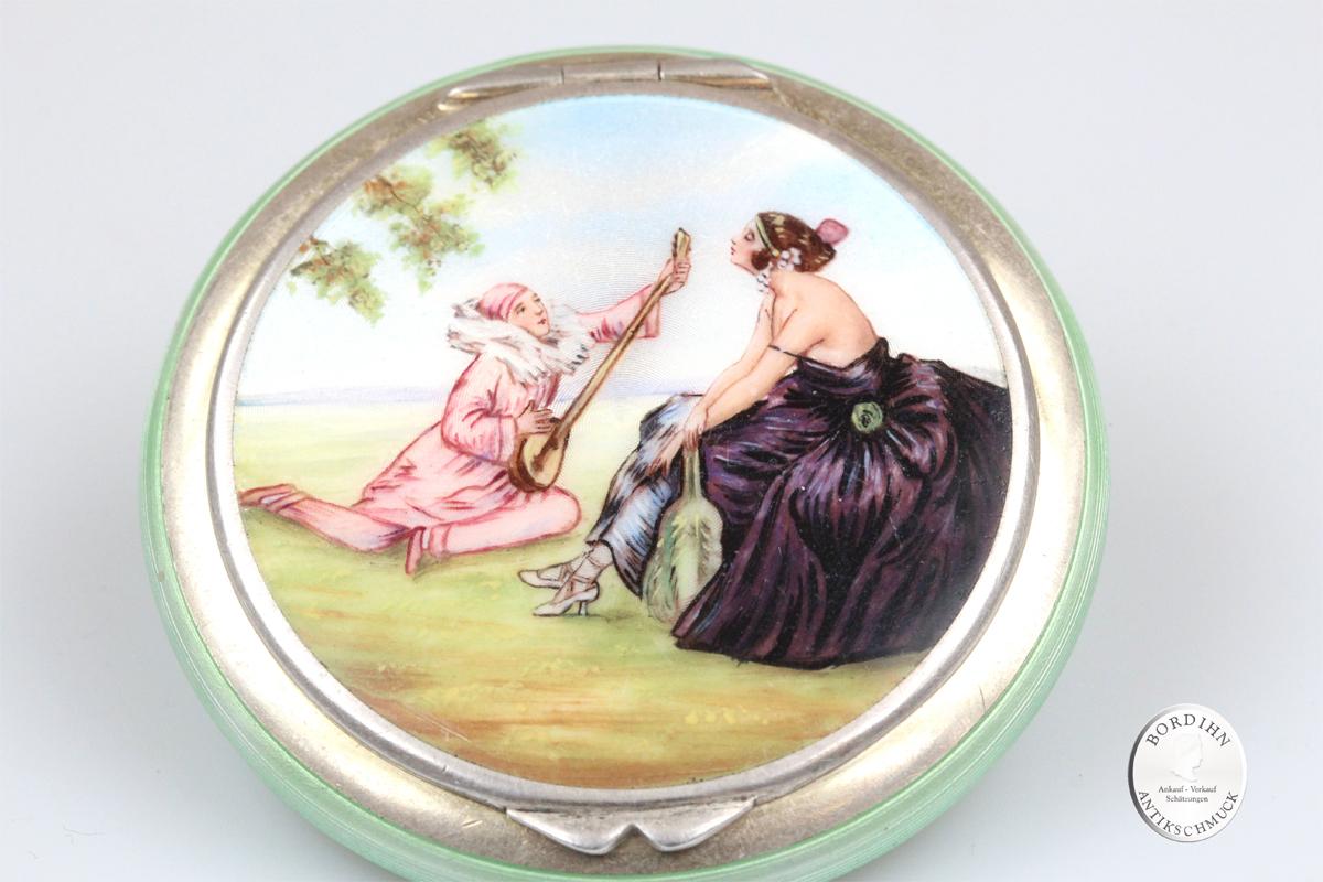 Puderdose Silber vergoldet Email Damen handbemalen Kunst antik Schmuck