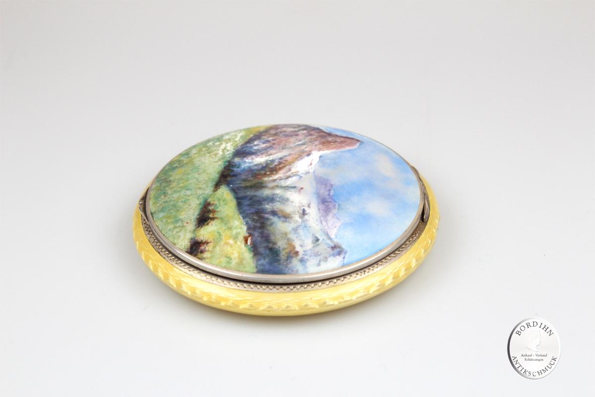 Puderdose Silber Emaille Landschaft Gemälde Kunst Damen Schmuck antik