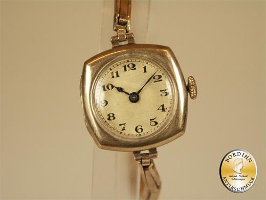 Damenuhr; Armbanduhr, 8 Karat Gold, Flexoband
