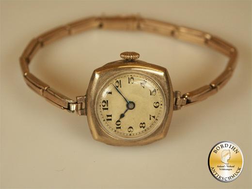 Uhr Damen Uhr Armbanduhr 8 Karat Gold Flexoband antik Geschenk