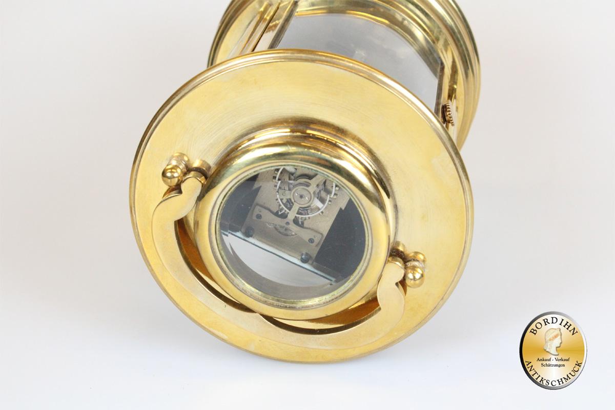 Tisch Uhr Messing Reiseuhr Schlüsseluhr Uhr mechanischer Aufzug 1950