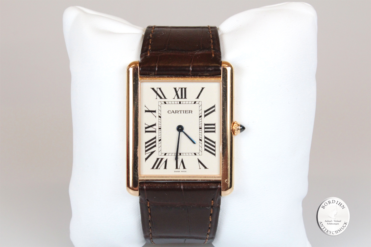 Armbanduhr Cartier Tank Lois XL Rotgold Luxusuhr Uhr mit Box - Papiere