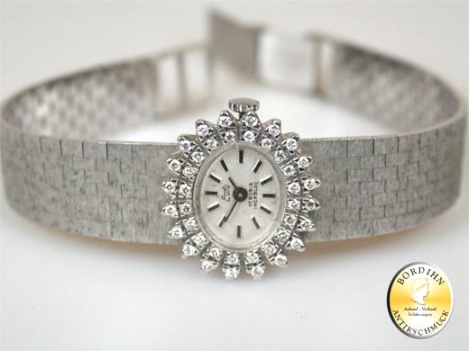 Armbanduhr Eufa 14 Karat Weißgold Brillanten Damenuhr Gold mechanisch