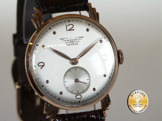 Armbanduhr Valory Genf 14 Karat Gold Sekunde Handaufzug Herrenuhr