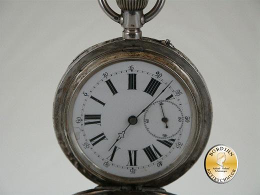 Taschenuhr in Silber, auch Innendeckel, 15 Rubins Legr.