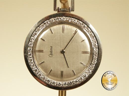 Taschenuhr Optima 18 Karat Weißgold Brillanten Frack Uhr Gold Uhr