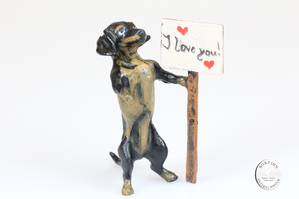 Wiener Bronze Dackel i love you original Fritz Bermann Skulptur