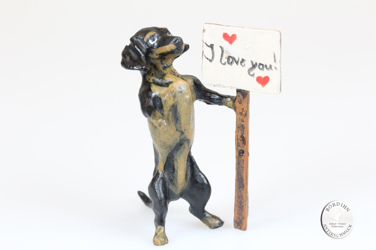 Wiener Bronze Dackel i love you original Fritz Bermann Skulptur