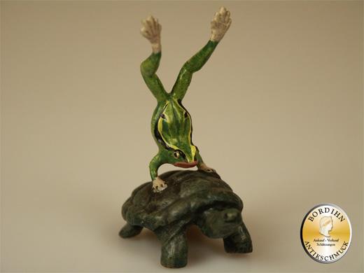 Wiener Bronze Frosch Handstand auf Schildkröte Original Figur Bermann
