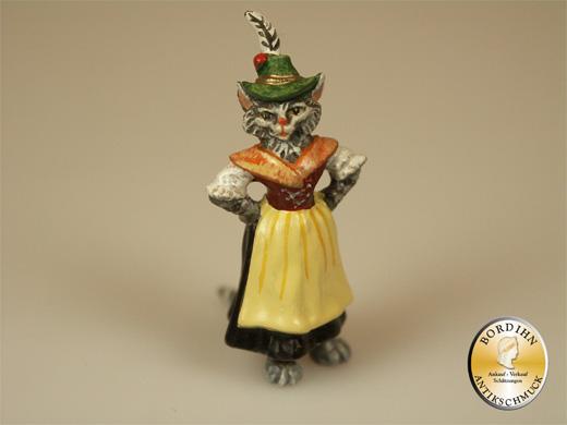 Wiener Bronze Katze als Tirolerin Kleinkunst Original Figur Bermann