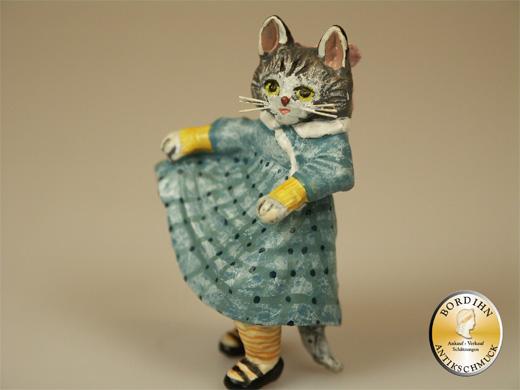 Wiener Bronze Katzenkind im Kleidchen Original Figur Fritz Bermann