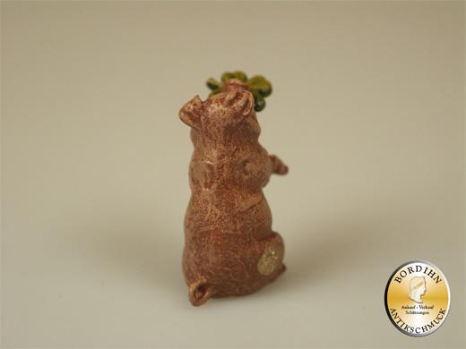 Wiener Bronze Schwein mit Kleeblatt Original Fritz Bermann Figur