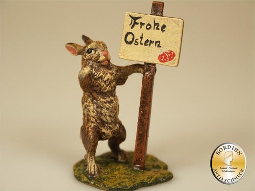 Wiener Bronze Hase Frohe Ostern Wiese original Fritz Bermann Figur