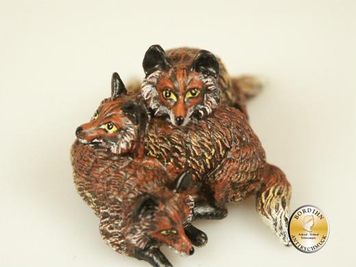 Wiener Bronze Fuchsfamilie Figur Original Fritz Bermann Kunsthandwerk