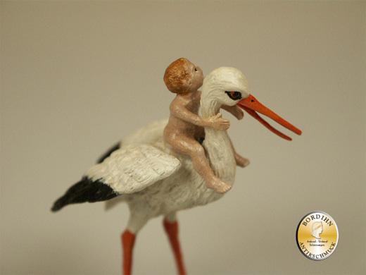 Wiener Bronze Storch mit Baby original Fritz Bermann Skulptur
