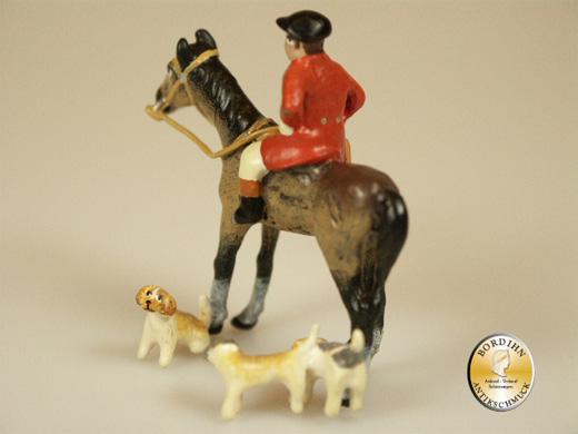 Wiener Bronze Reiter auf Pferd 3 Hunde Kunsthandwerk Figur Original