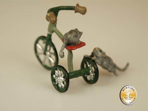 Wiener Bronze Dreirad mit Maus Sammler Figur Original Fritz Bermann