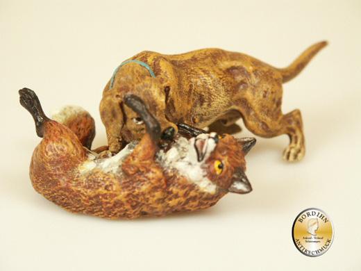 Wiener Bronze, Jagdhund mit Fuchs
