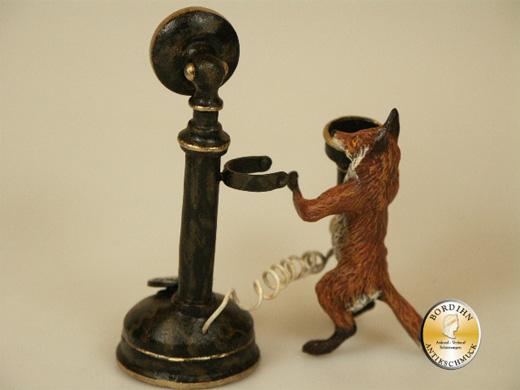 Wiener Bronze Fuchs mit Telefon original Kleinkunst mit Zertifikat