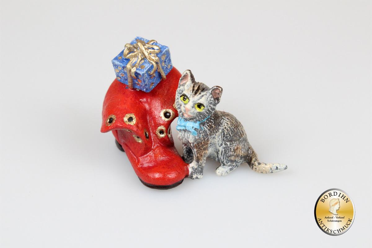 Wiener Bronze; Katze, Schuh, Paket, Weihnachten