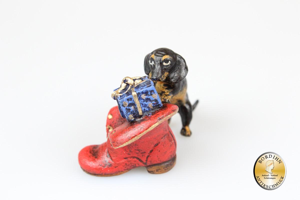 Wiener Bronze Dackel Schuh Paket Weihnachten Kunst Figur Fritz Bermann
