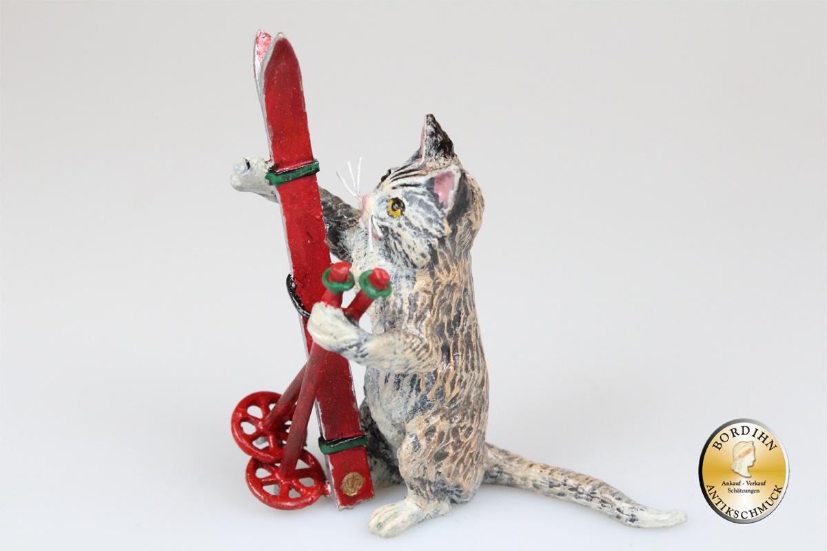 Wiener Bronze Katze mit Skier Figur Original Fritz Bermann Kleinkunst