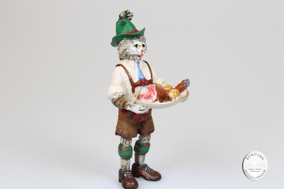 Wiener Bronze Katze Lederhose mit Stelze und Tablett Original Figur