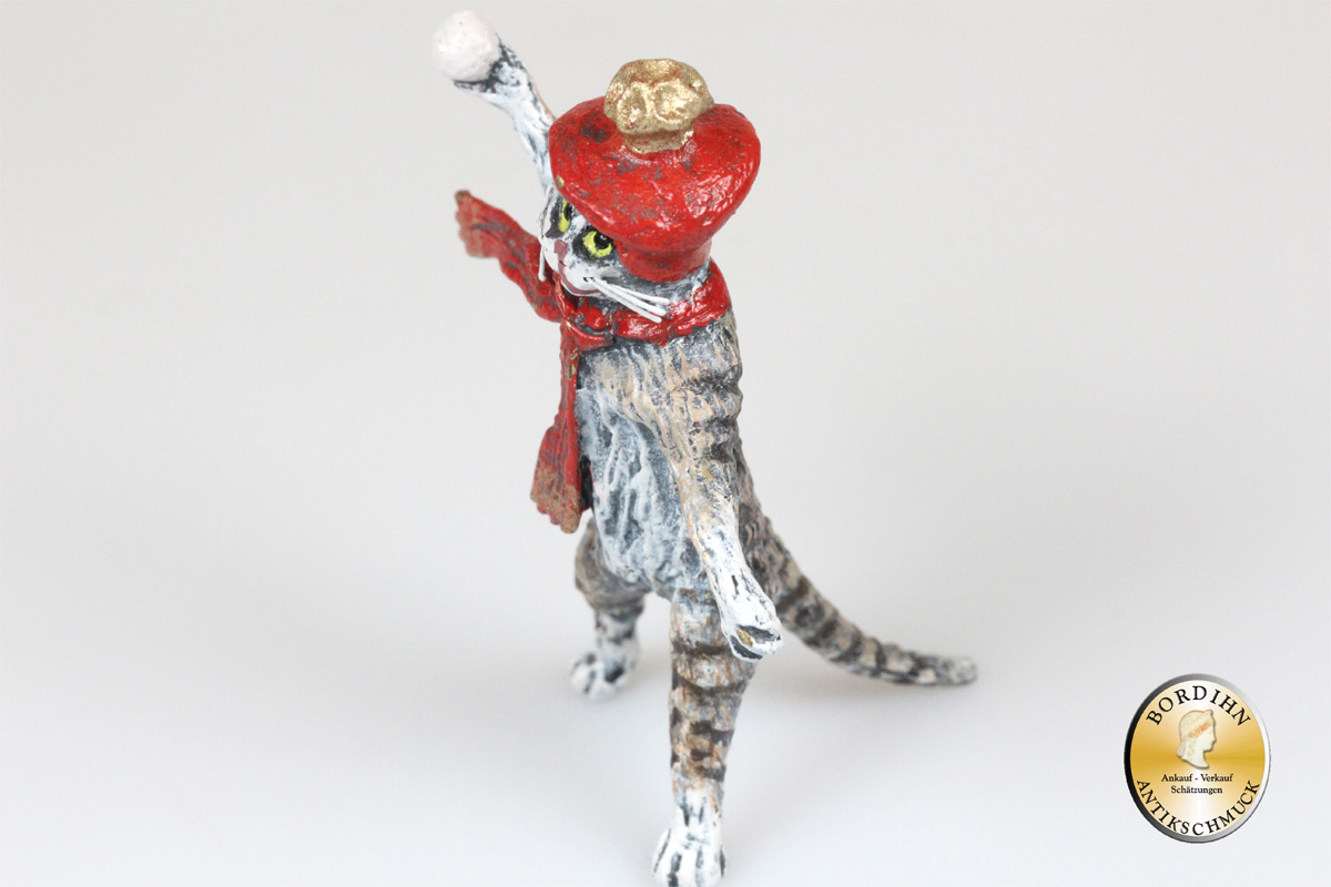 Wiener Bronze Katze mit Schneeball original Fritz Bermann Skulptur