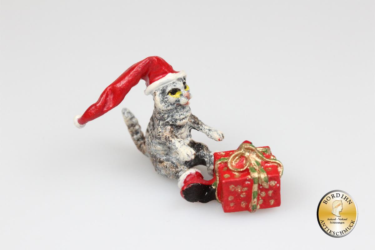 Wiener Bronze Katze Weihnachtsmütze mit Paket Fritz Bermann Skulptur