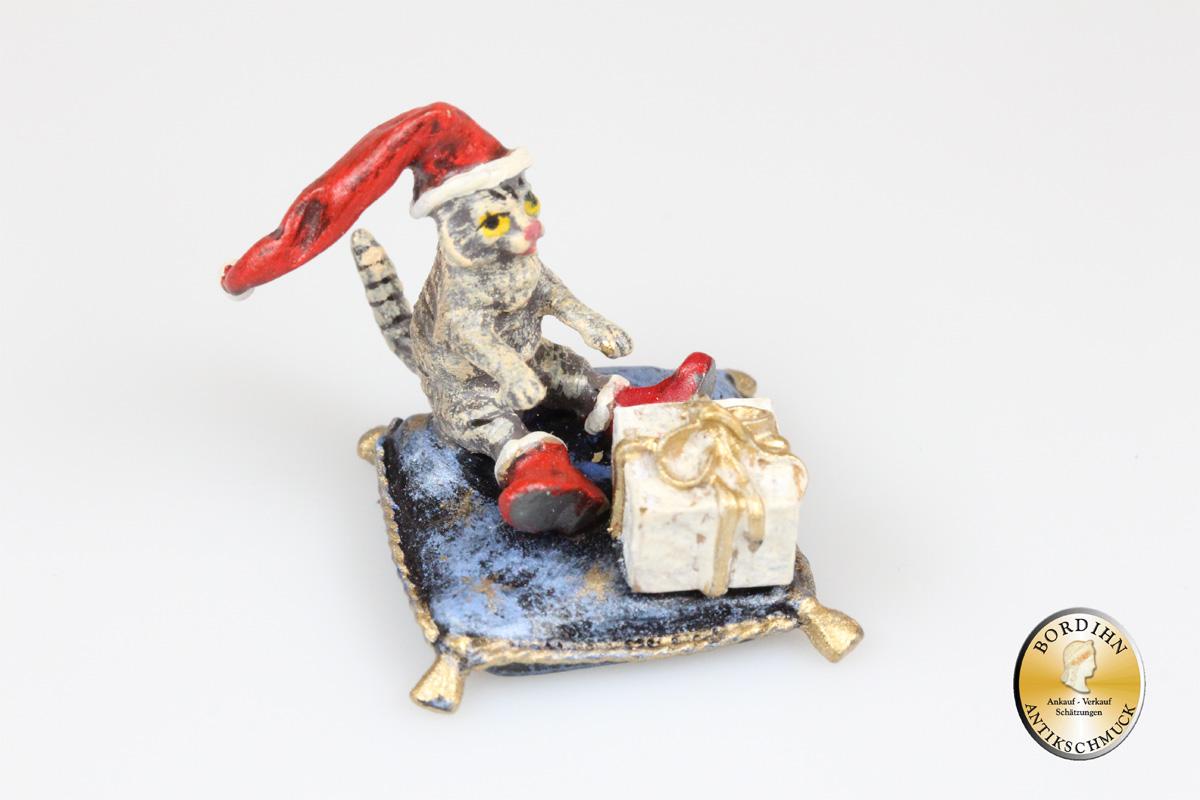 Wiener Bronze Katze Weihnachtsmütze Polster Paket Fritz Bermann Figur
