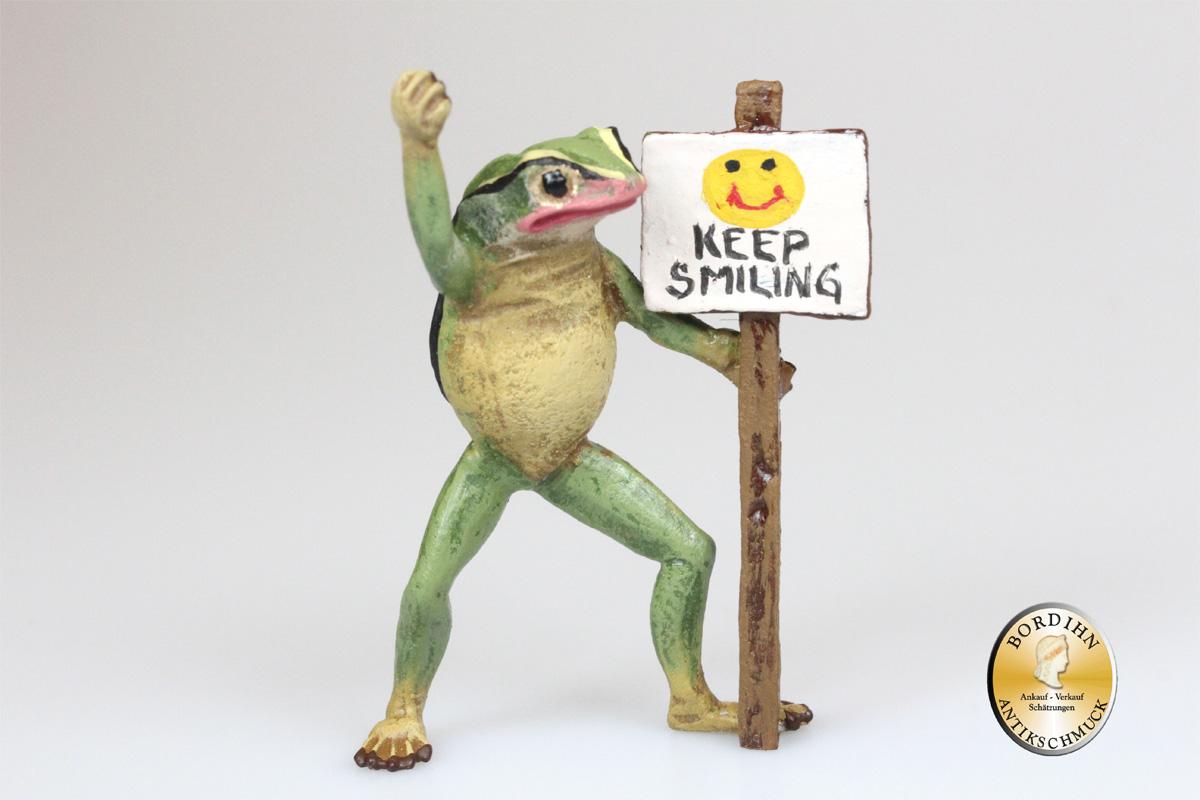 Wiener Bronze Frosch keep smiling original Fritz Bermann Skulptur
