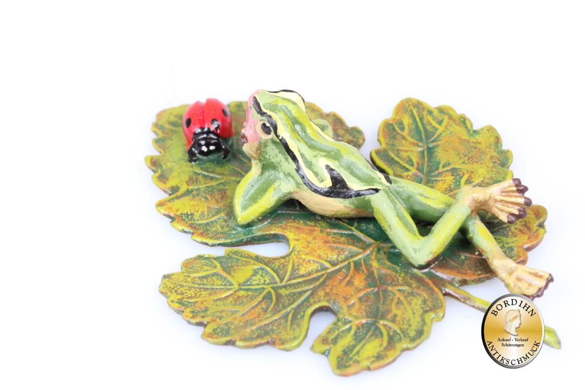 Wiener Bronze Frosch auf Blatt Marienkäfer Kunst Sammler Figur