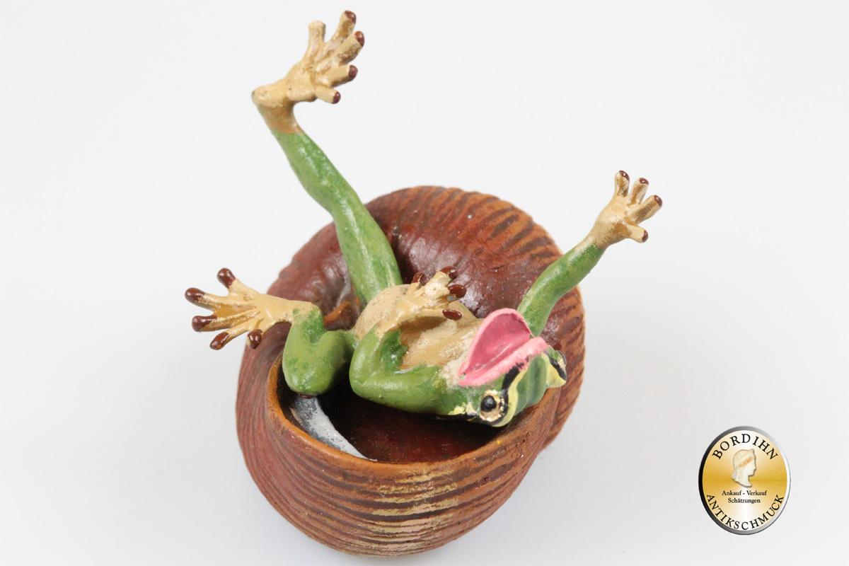 Wiener Bronze Frosch im Schneckenhaus Original Fritz Bermann Skulptur