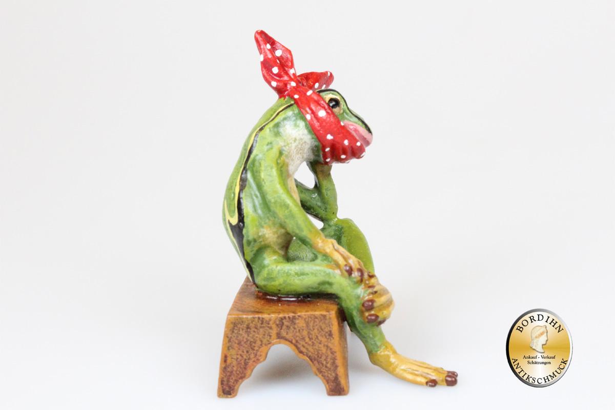 Wiener Bronze Frosch Zahnweh Stockerl original Fritz Bermann Skulptur