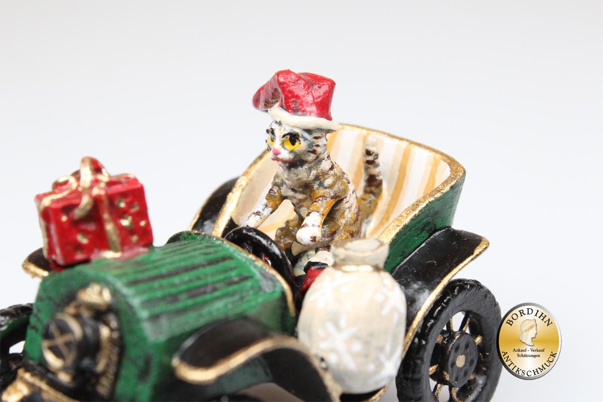 Wiener Bronze Katze mit Stiefel im Oldtimer Original Figur Bermann