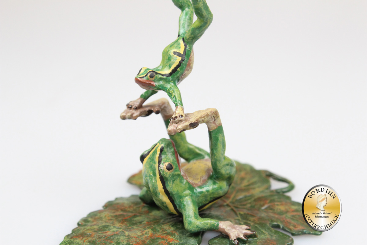 Wiener Bronze Frosch Gymnastik auf Frosch Figur Original Fritz Bermann
