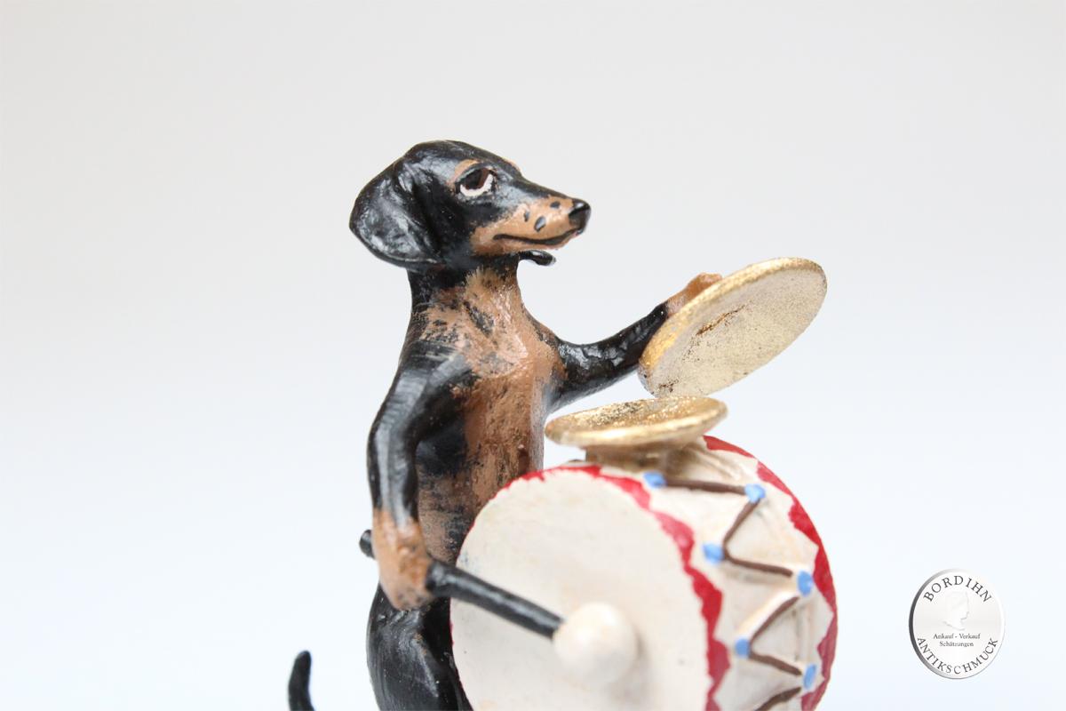Wiener Bronze Dackel mit Trommel Figur Original Kleinkunst für Sammler