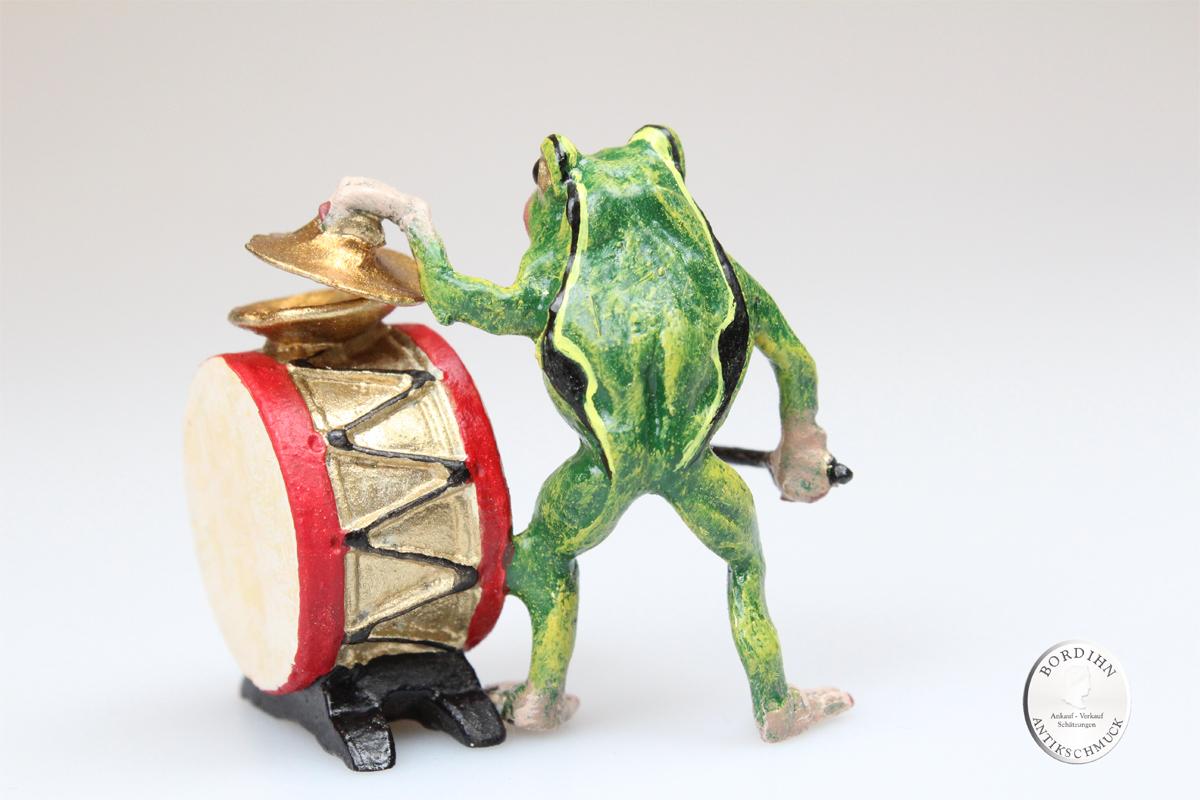 Wiener Bronze Frosch mit Trommel Skulptur Original Fritz Bermann