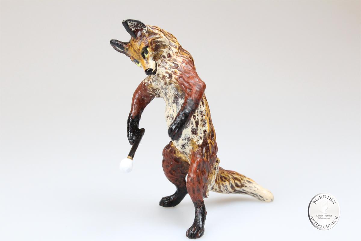 Wiener Bronze Fuchs mit Trommel Sammler Kleinkunst Original Skulptur